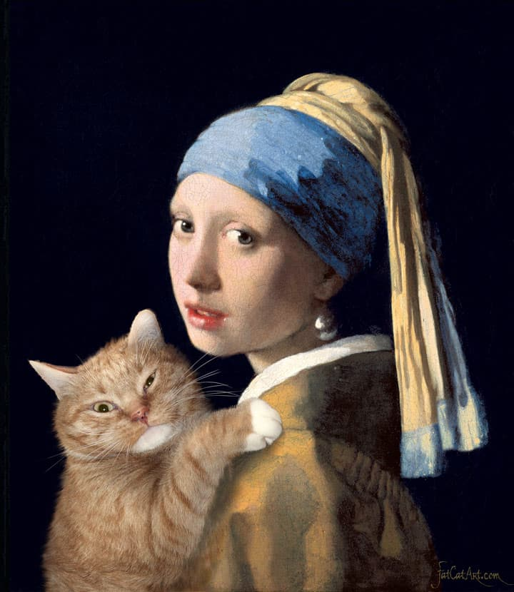 10 Photos Of Majestic Fat Cat Photoshopped Into Famous Art
